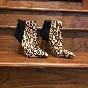 Sam Edelman Leopard Print Cow Hair Booties 8.5